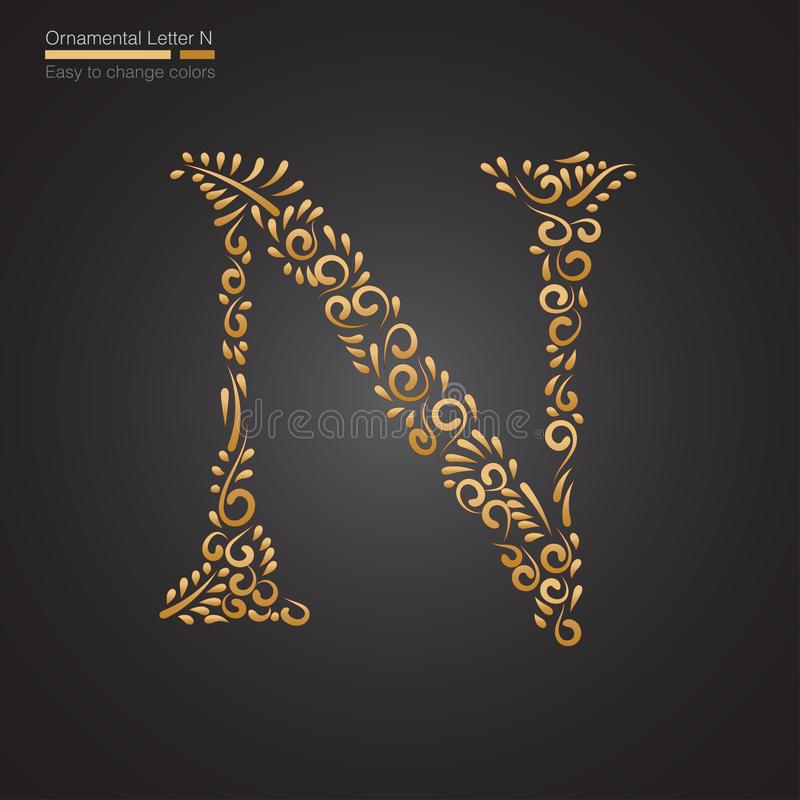 Letra floral de oro ornamental N stock de ilustración