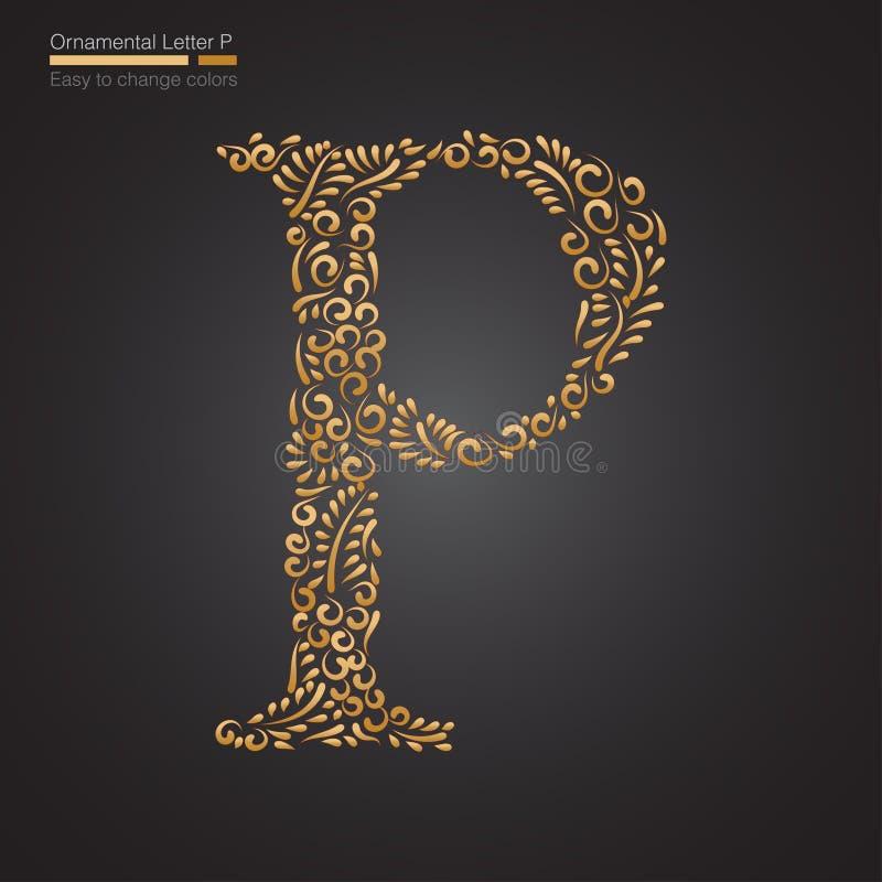 Letra floral de oro ornamental P libre illustration