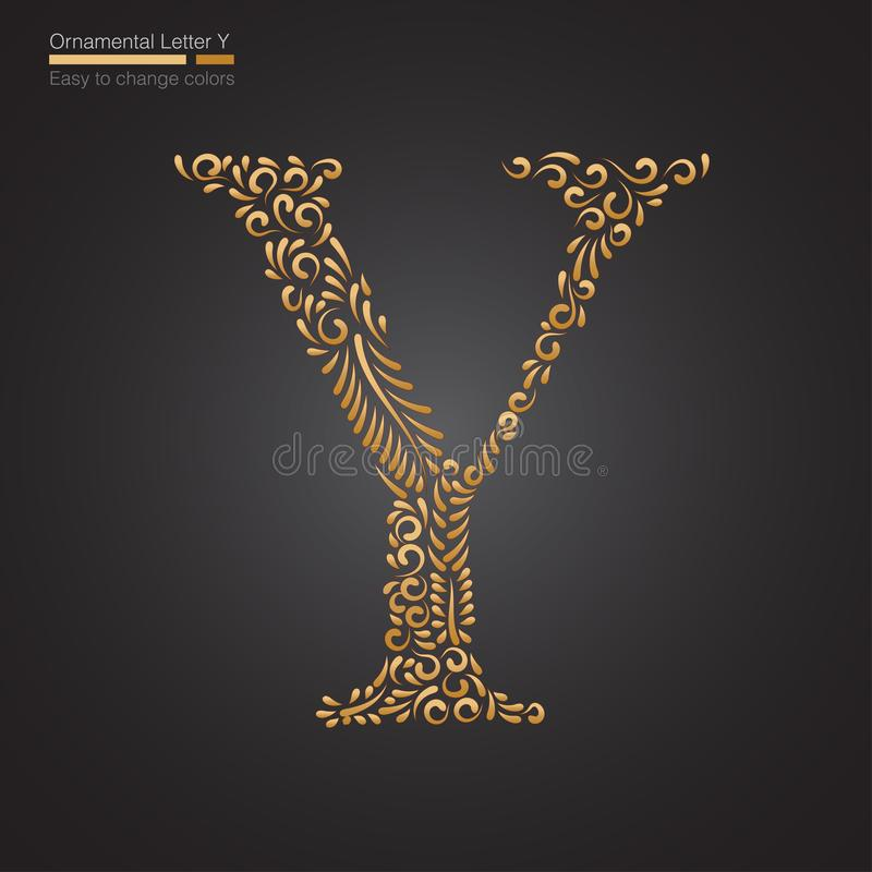 Letra floral de oro ornamental Y stock de ilustración