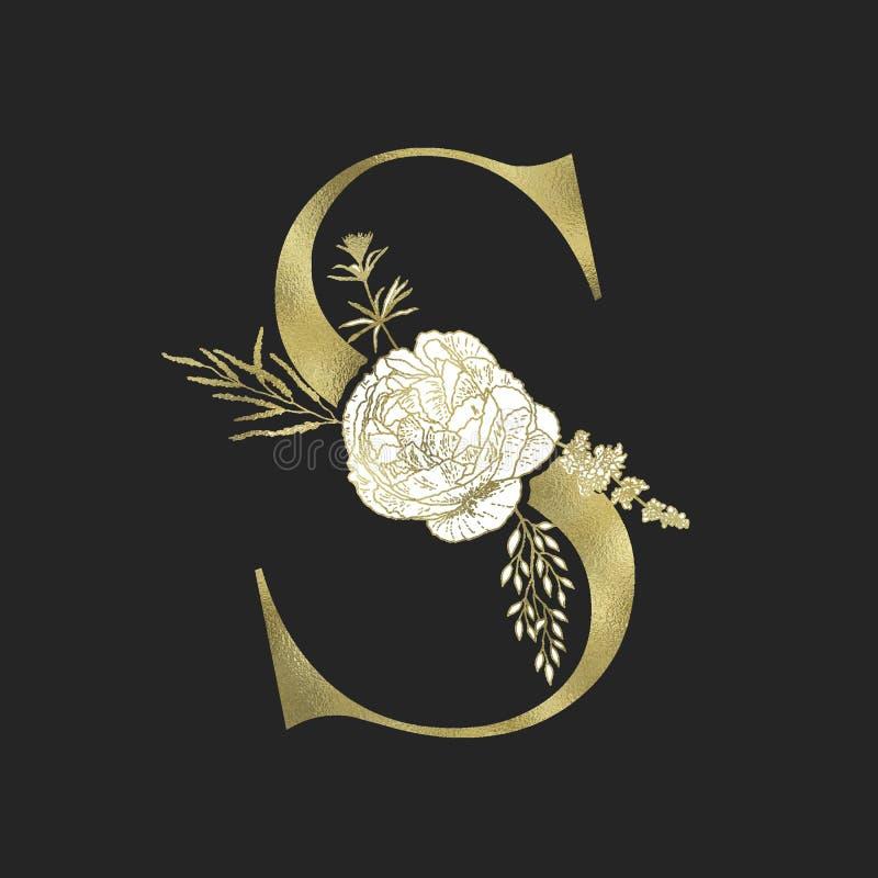 Letra floral do serif do alfabeto e do ouro Vetor ilustração royalty free