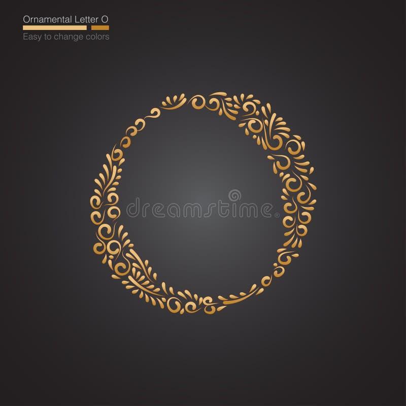 Letra floral dourada decorativa O ilustração do vetor