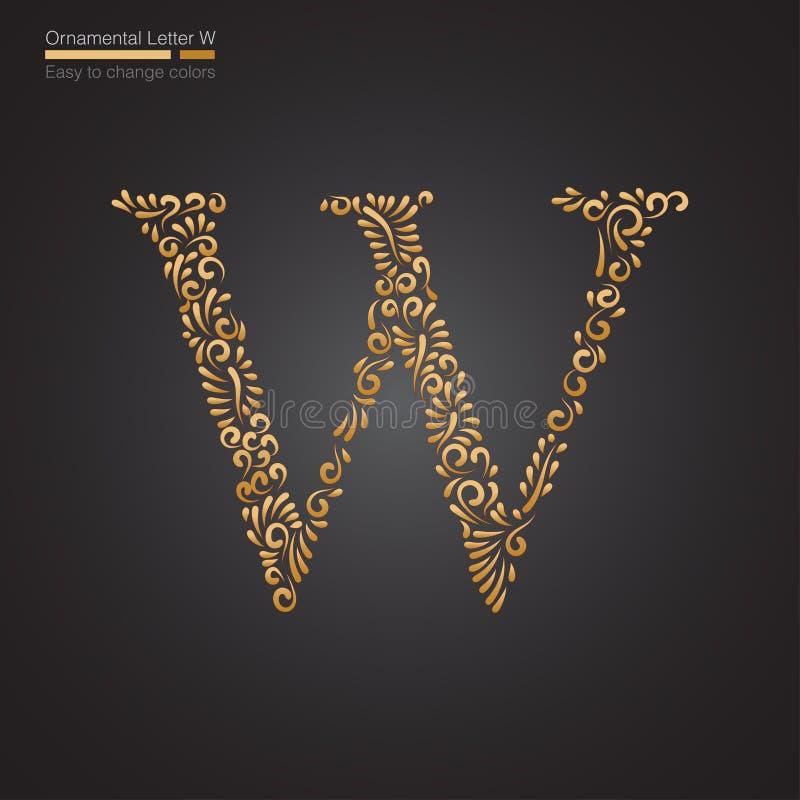 Letra floral dourada decorativa W ilustração royalty free