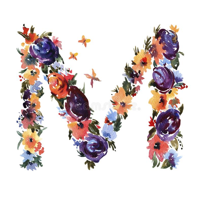 Letra floral M Made de flores, letra aislada de la acuarela del verano en el fondo blanco stock de ilustración