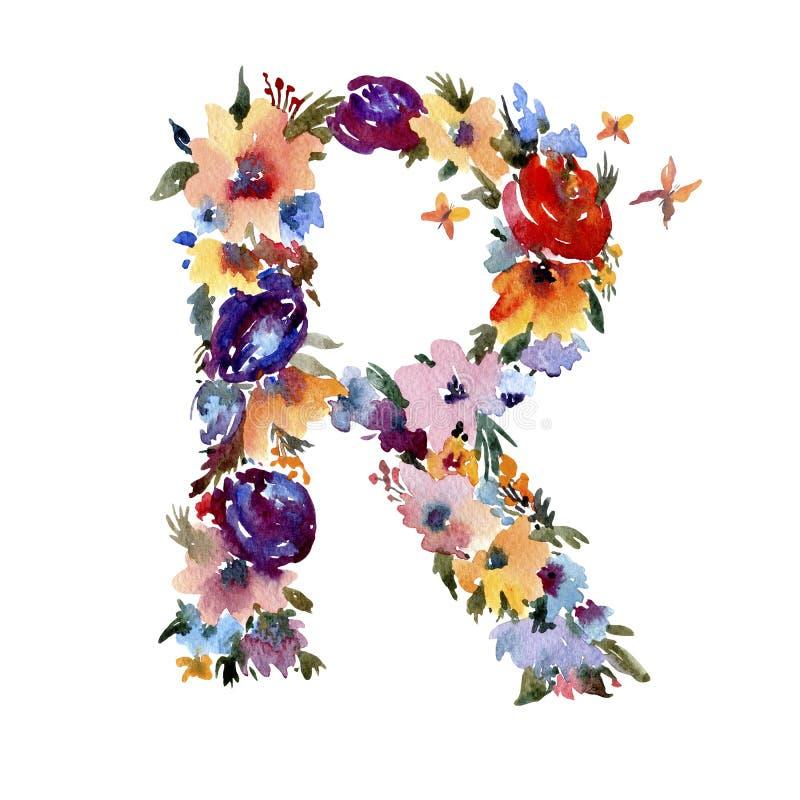 Letra floral R de la acuarela hecha de las flores, letra aislada del verano en el fondo blanco ilustración del vector
