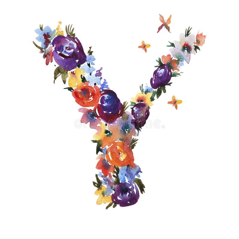 Letra floral Y de la acuarela hecha de las flores, letra aislada del verano en el fondo blanco stock de ilustración