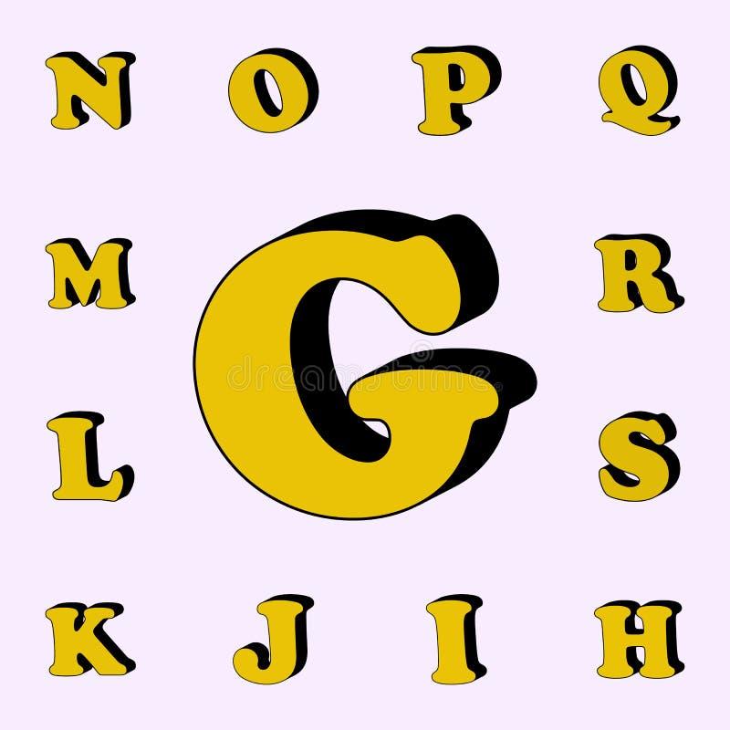 letra G, alfabeto, ícone 3D grupo universal dos ícones das palavras 3D para a Web e o móbil ilustração stock