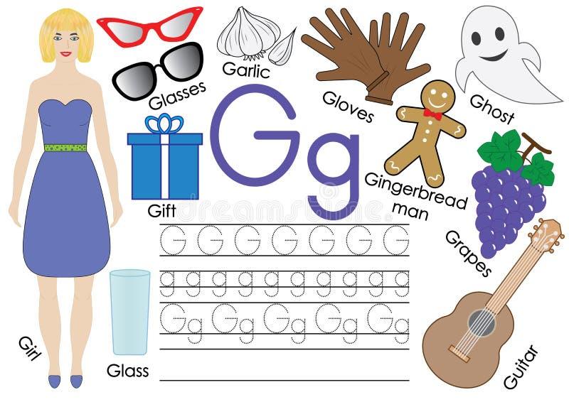Letra G Alfabeto inglês Prática da escrita Jogo educacional ilustração royalty free