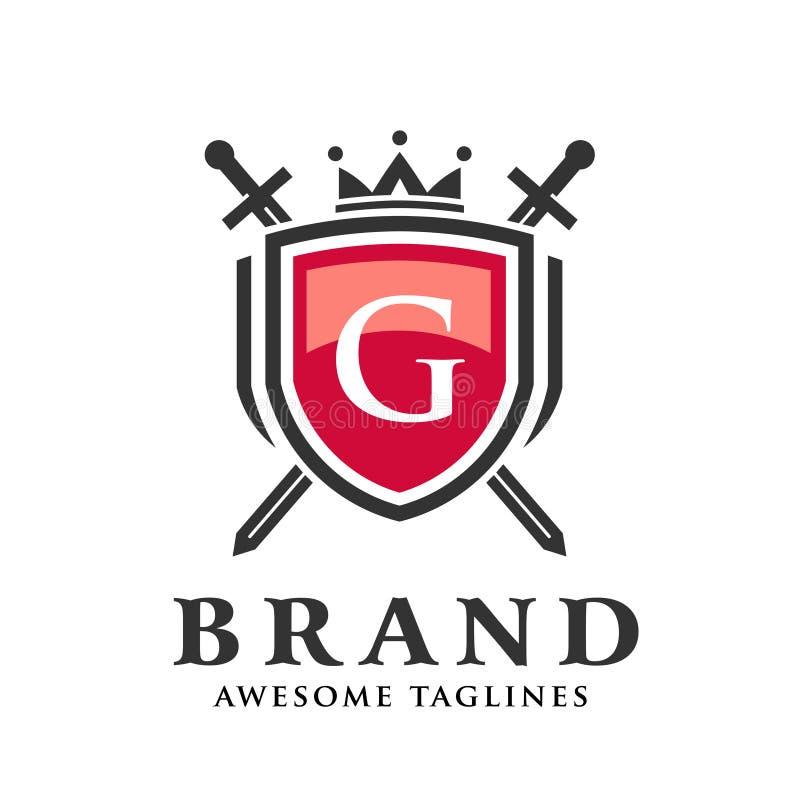 Letra G con dos espadas cruzadas, escudo con el logotipo de la corona libre illustration