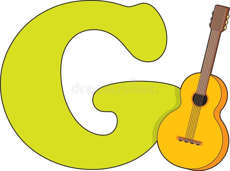 Letra G Con Una Guitarra Ilustración Del Vector