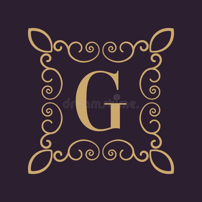 Letra G del monograma Ornamento caligráfico oro Conceptos retros, del negocio y del vintage Ilustración del vector libre illustration