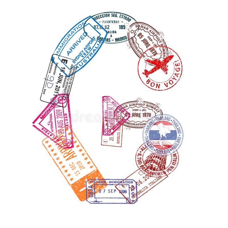 A letra G feita do passaporte internacional carimba em um fundo branco Isolado ilustração do vetor