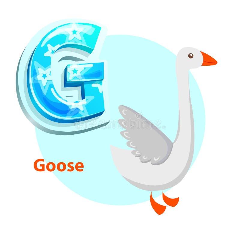 Letra G para el alfabeto de la historieta del ganso para los niños libre illustration