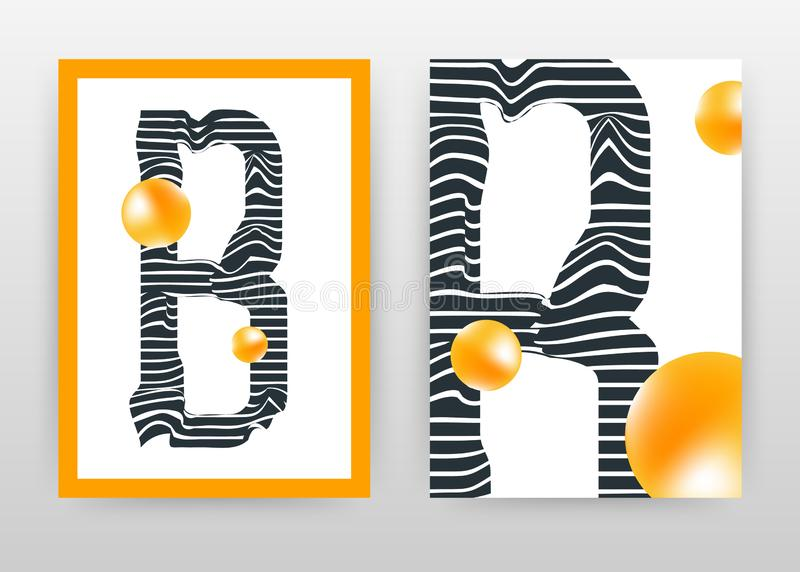Letra geométrica de B con el folleto anaranjado del diseño de negocio de las perlas, aviador, cartel La ronda anaranjada geométri ilustración del vector