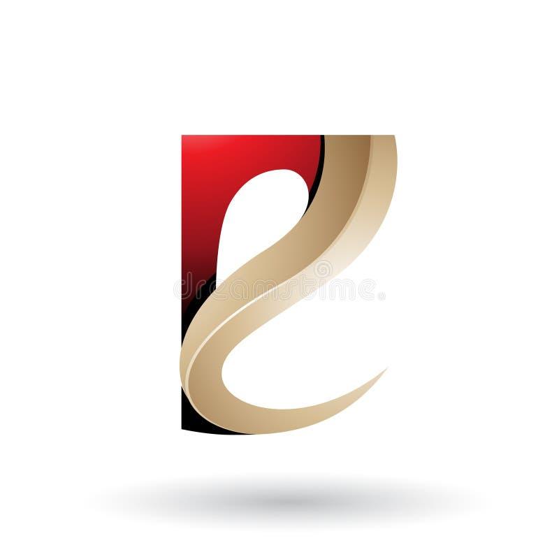 Letra grabada en relieve con curvas brillante roja y beige E aislada en un fondo blanco libre illustration