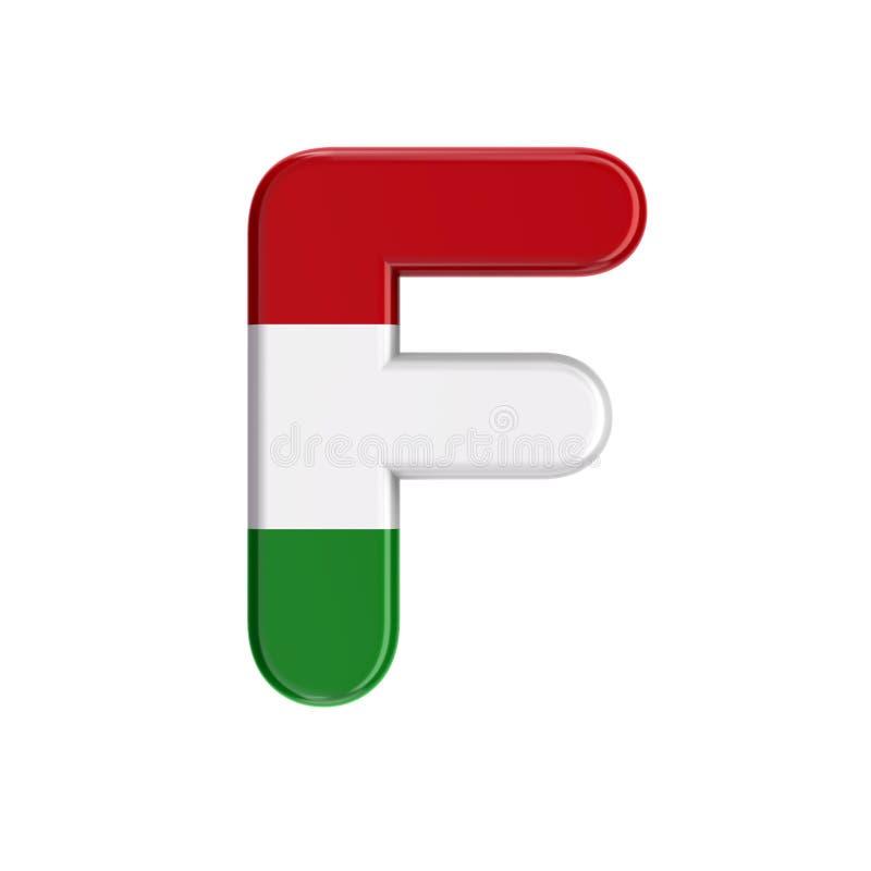 Letra húngara F - bandeira 3d caixa da fonte de Hungria - Budapest, Europa Central ou conceito da política ilustração royalty free