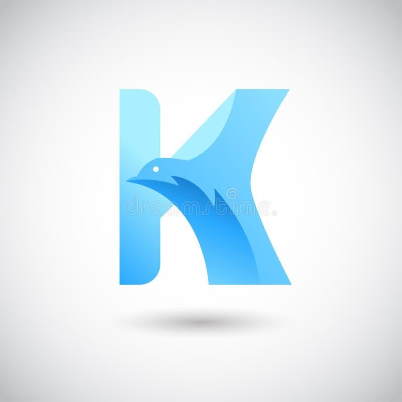 Letra H com pomba Logo Concept Molde criativo e elegante do projeto do logotipo ilustração royalty free