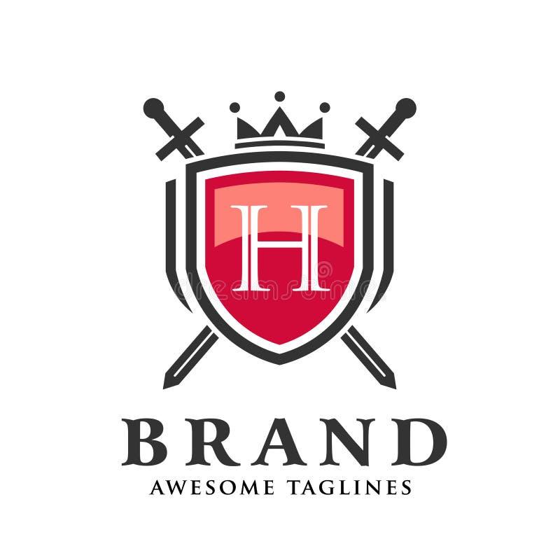 Letra H con dos espadas cruzadas, escudo con el logotipo de la corona libre illustration