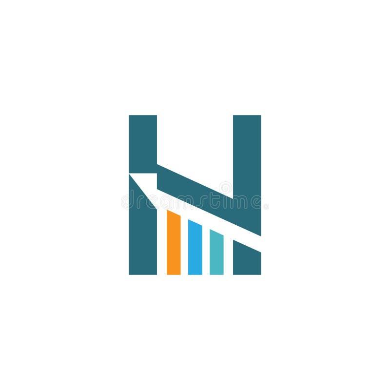 Letra H con el icono llenado carta cada vez mayor del esquema, línea muestra, pictograma colorido linear aislado en blanco ilustración del vector