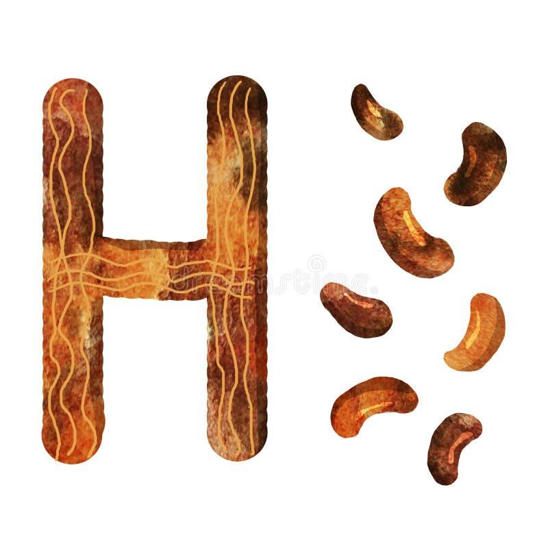 Letra h do alfabeto inglês ilustração do vetor