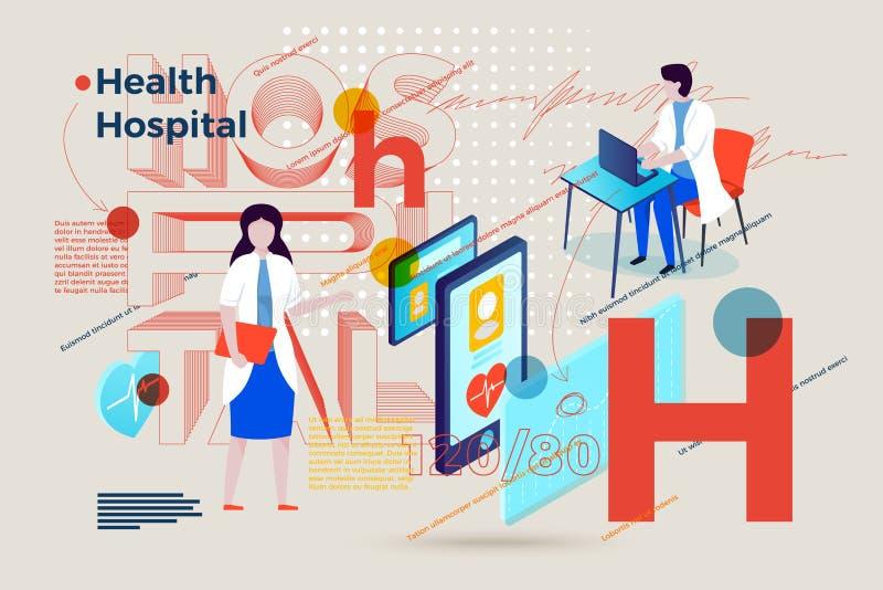 Letra H, doctores del vector que muestran diagnosis de la salud libre illustration