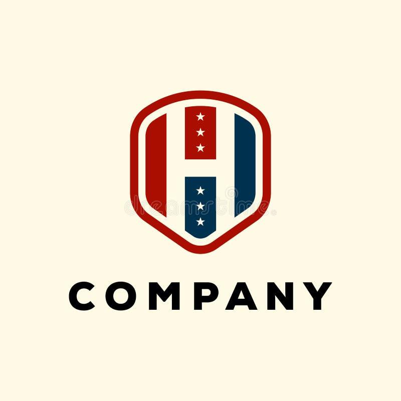 Letra H en el escudo con diseño de la insignia del concepto del icono de los E.E.U.U. con los elementos azules y rojos del emblem libre illustration