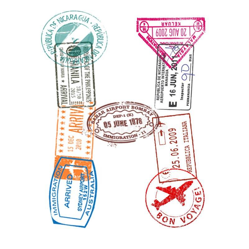 A letra H feita do passaporte internacional carimba em um fundo branco Isolado ilustração stock