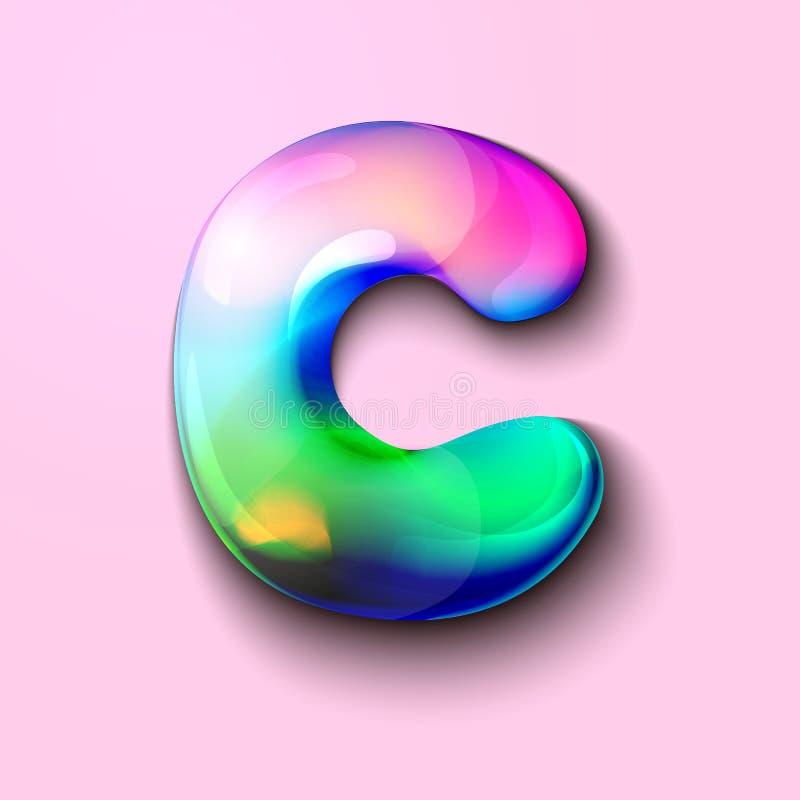 Letra holográfica moderna C r r o Um medidor da tensão de C ilustração stock