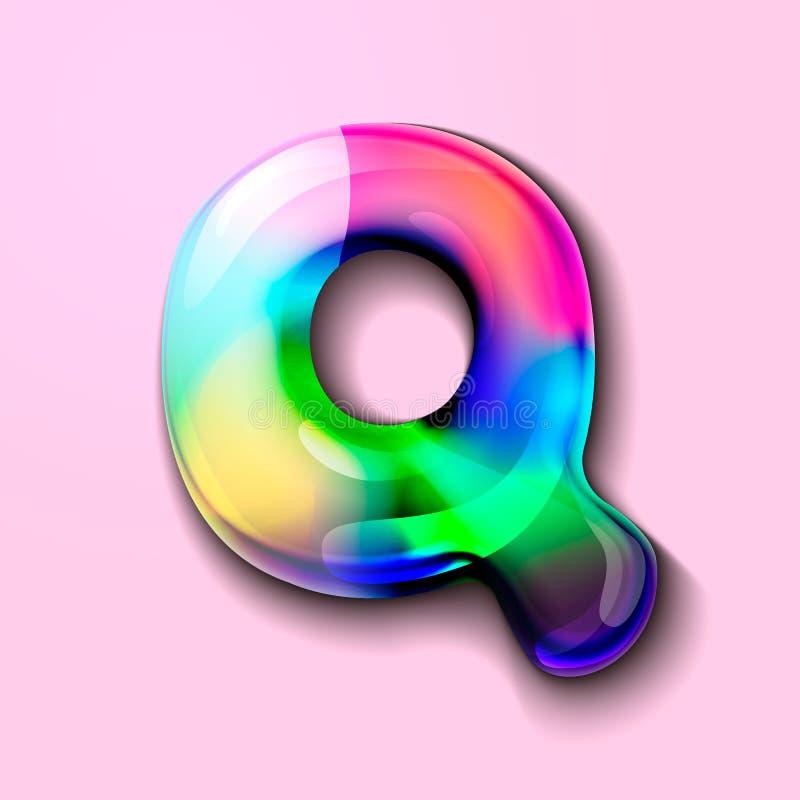 Letra holográfica moderna Q r r o Um medidor da tensão de C ilustração royalty free
