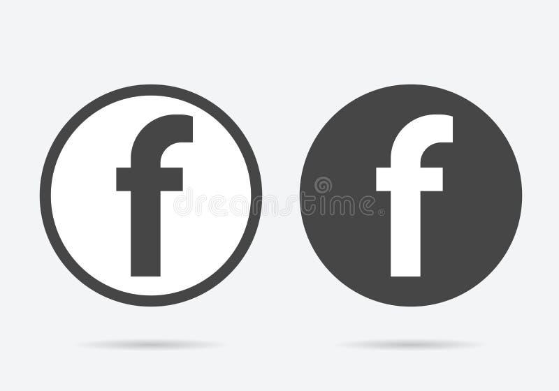 Letra icono social de los iconos de F el medios, del web de la letra F o la muestra stock de ilustración