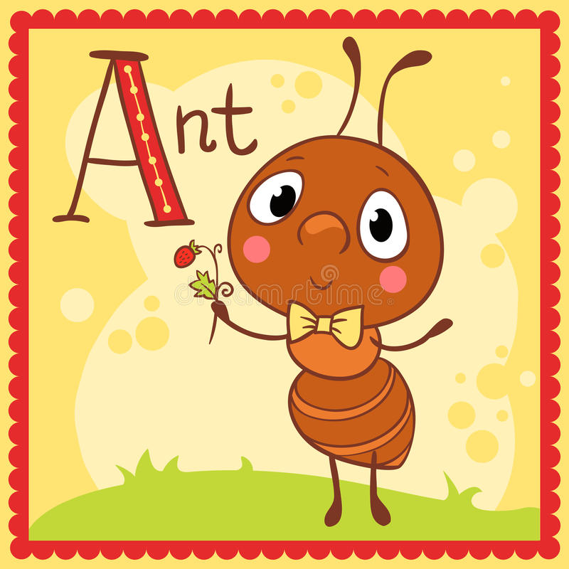 Letra ilustrada A del alfabeto y hormiga ilustración del vector