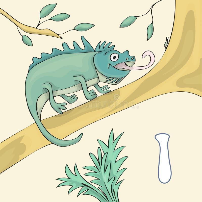 Letra ilustrada do alfabeto mim e iguana Desenhos animados do vetor da imagem do livro de ABC A iguana é standind em um ramo da á ilustração royalty free
