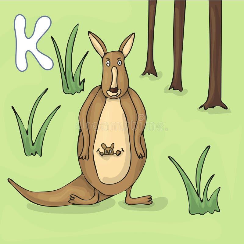 Letra ilustrada K do alfabeto e canguru Desenhos animados do vetor da imagem do livro de ABC Mãe do canguru com uma posição peque ilustração royalty free