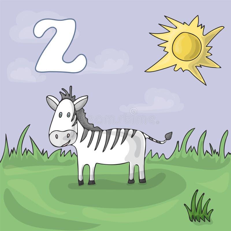 Letra ilustrada Z do alfabeto e zebra Desenhos animados do vetor da imagem do livro de ABC A zebra é pastada em um prado em um ja ilustração royalty free