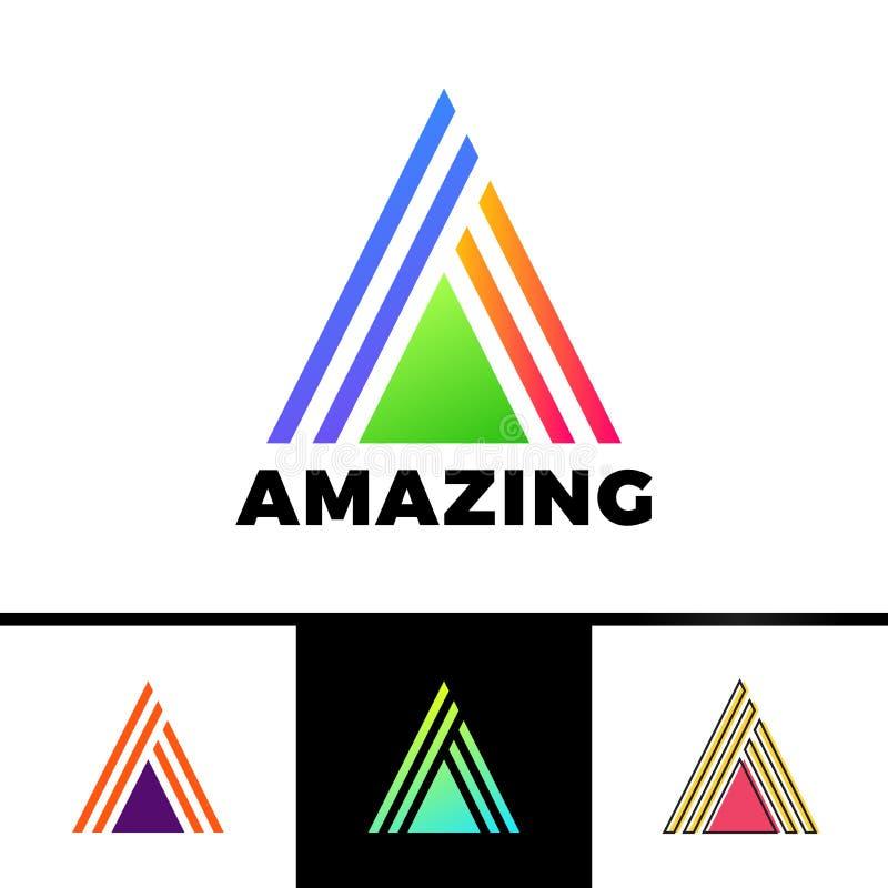 Letra A incluida en un triángulo Logotipo abstracto del vector en un estilo linear ilustración del vector