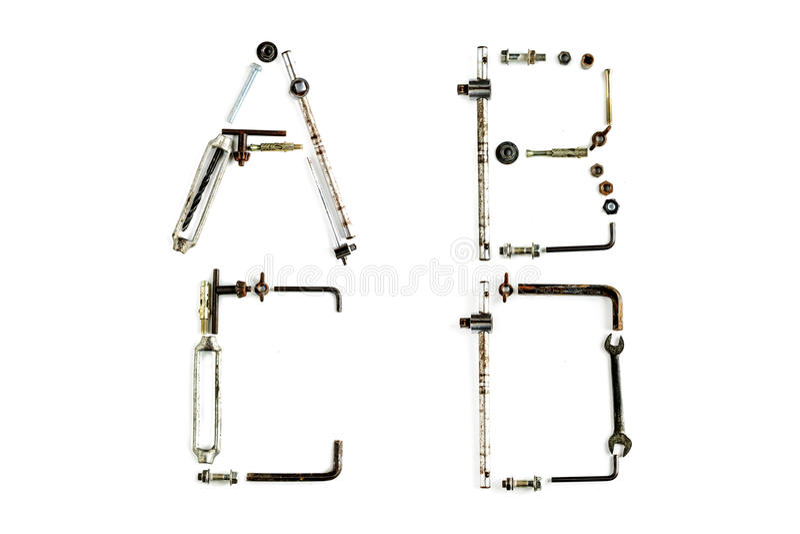 Letra industrial A do alfabeto do metal, B, C, D isolado imagens de stock royalty free