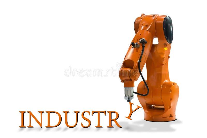 Letra industrial do braço mecânico da tecnologia da escrita do braço do robô fotos de stock