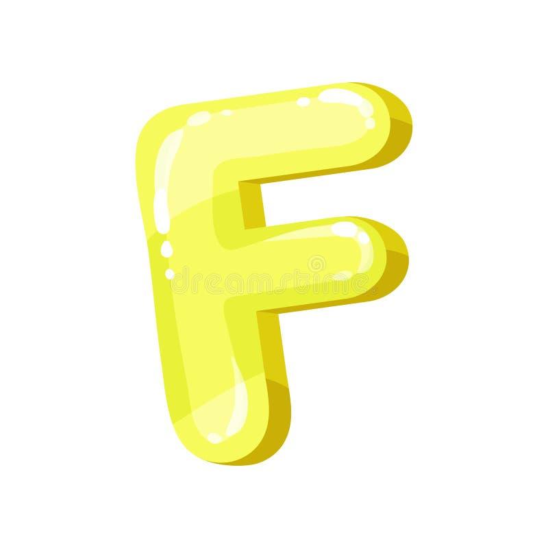 Letra inglesa brilhante lustrosa amarela de F, ilustração do vetor da fonte das crianças em um fundo branco ilustração royalty free
