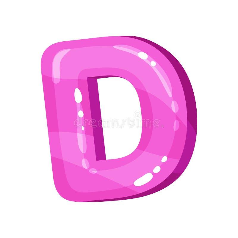 Letra inglesa brilhante lustrosa cor-de-rosa de D, ilustração do vetor da fonte das crianças em um fundo branco ilustração royalty free