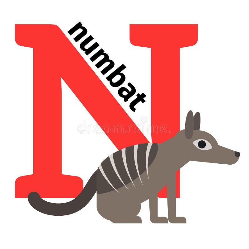 Letra inglesa N del alfabeto del parque zoológico de los animales stock de ilustración