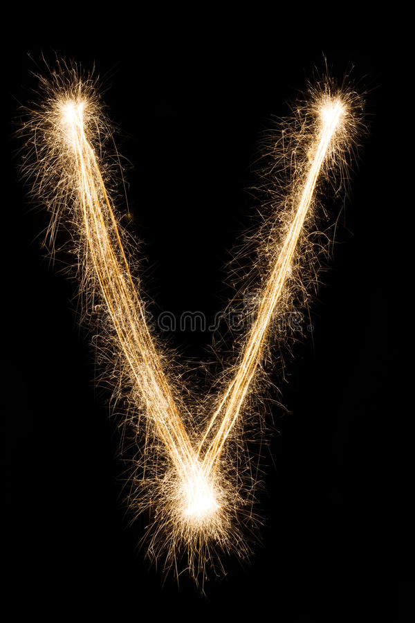 Letra inglesa V do alfabeto dos chuveirinhos no fundo preto imagem de stock royalty free
