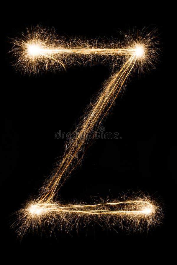 Letra inglesa Z do alfabeto dos chuveirinhos no fundo preto fotos de stock