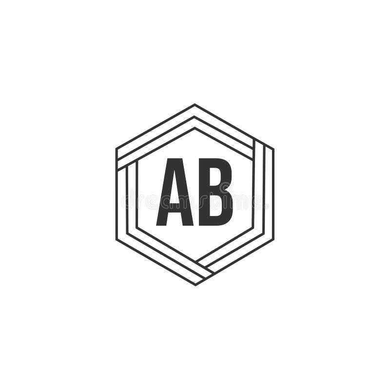 Letra inicial AB Logo Template Vector Design stock de ilustración