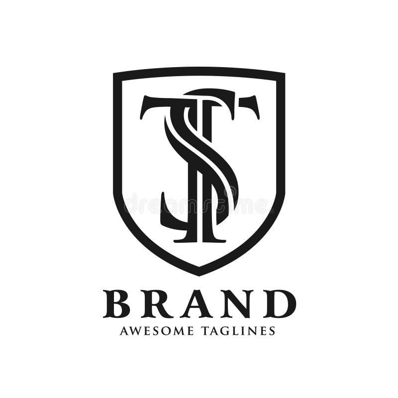 Letra inicial creativa del ST con vector del escudo stock de ilustración