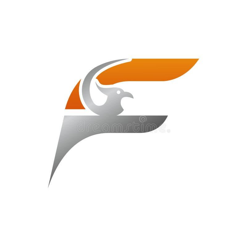 letra inicial creativa F con el ejemplo del vector de la plantilla del logotipo del pájaro del águila, logotipo para la identidad stock de ilustración