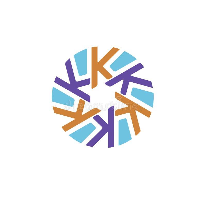 Letra inicial creativa k con el logotipo del círculo libre illustration