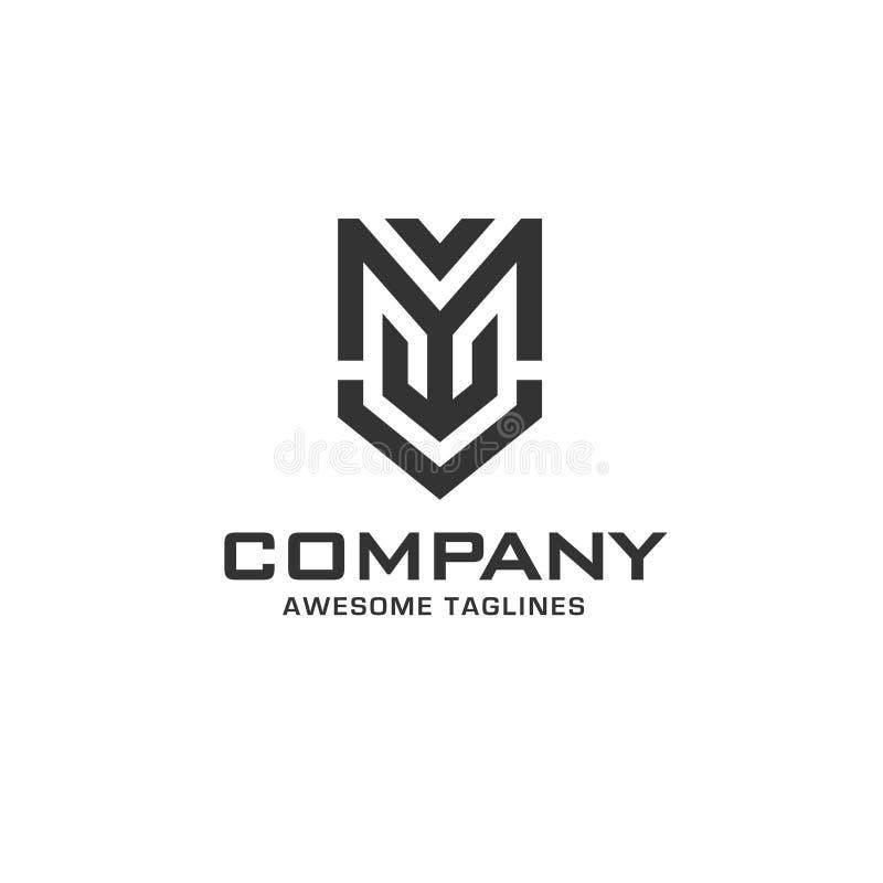 Letra inicial creativa m con el logotipo del escudo libre illustration