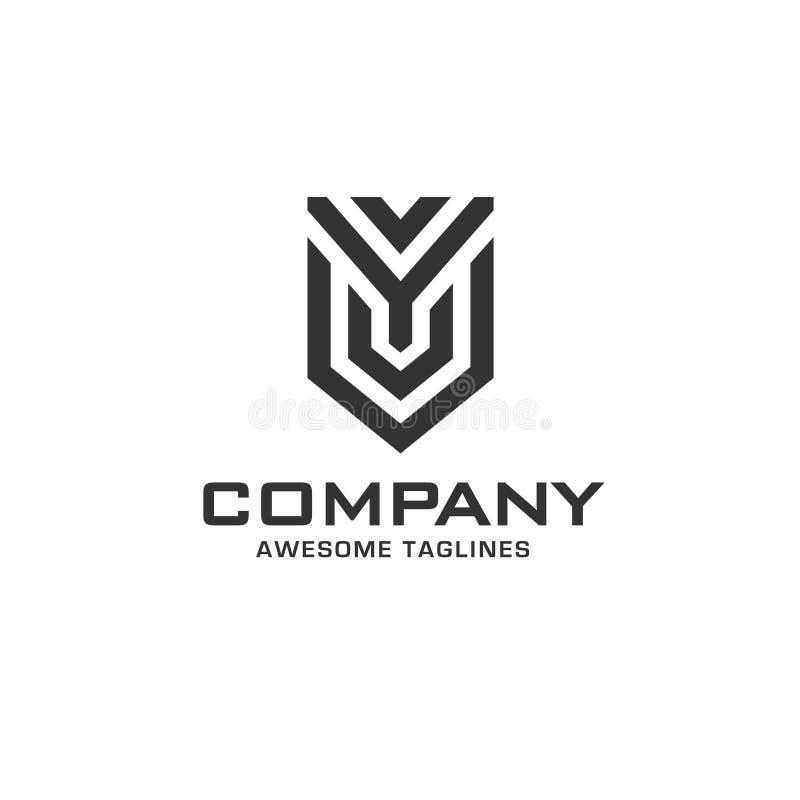 Letra inicial creativa y con el logotipo del escudo stock de ilustración