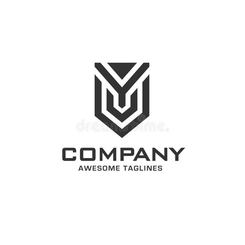 Letra inicial creativa y con el logotipo del escudo libre illustration