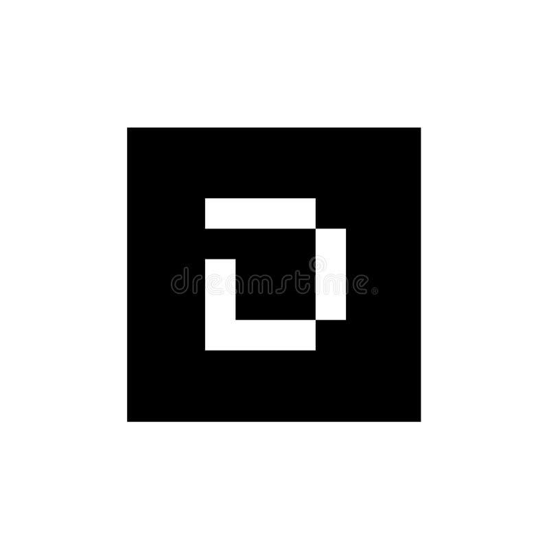 Letra inicial D Logo Icon Design, combinado con el cuadrado, ejemplo blanco y negro stock de ilustración