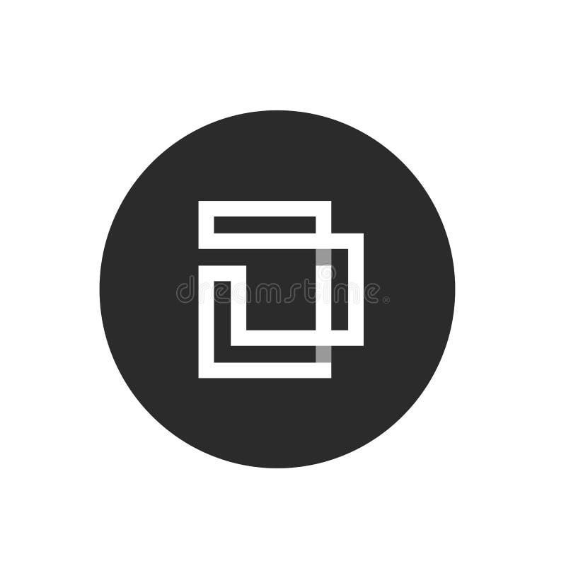Letra inicial D, monograma minimalista Art Logo, color blanco en el fondo negro del círculo - vector stock de ilustración